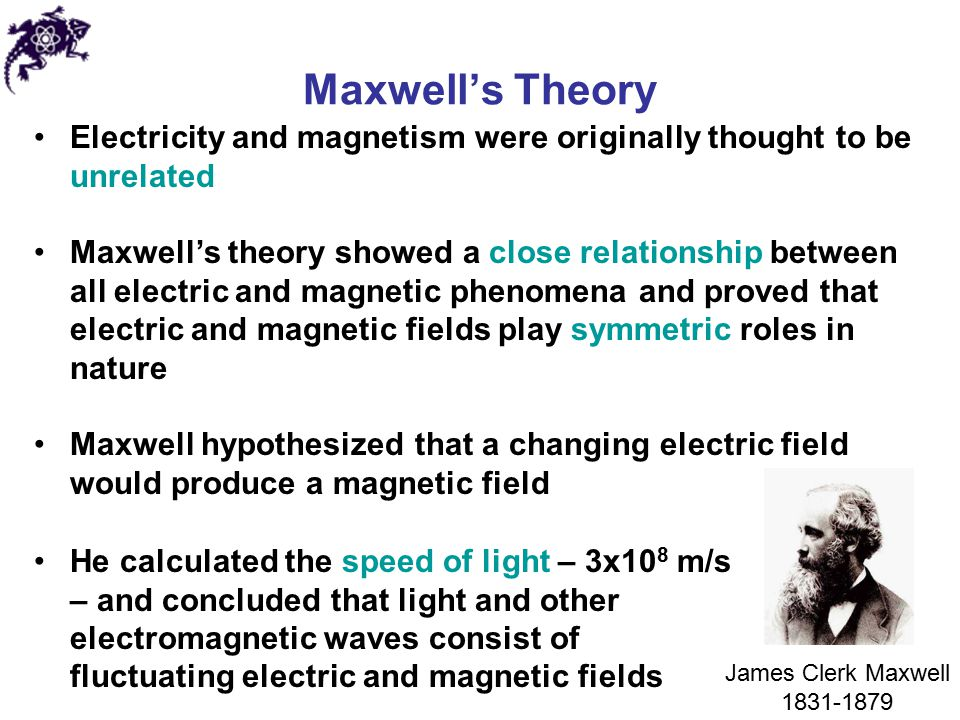 Maxwell's Theory Electricity and magnetism were originally thought to be unrelated.