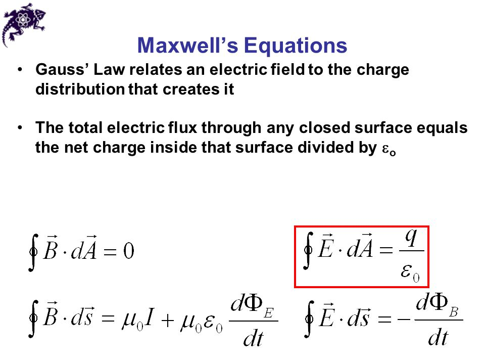 Maxwell's Equations Gauss' Law relates an electric field to the charge distribution that creates it.