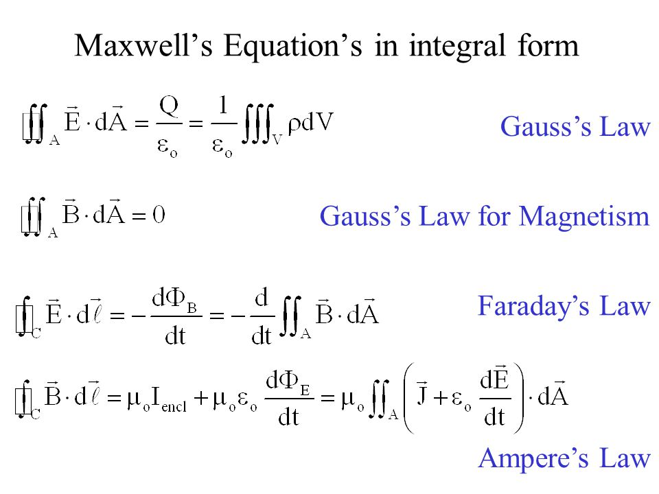 Maxwell's Equation's in integral form