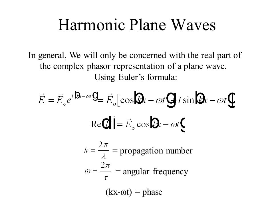 Harmonic Plane Waves In general, We will only be concerned with the real part of. the complex phasor representation of a plane wave.