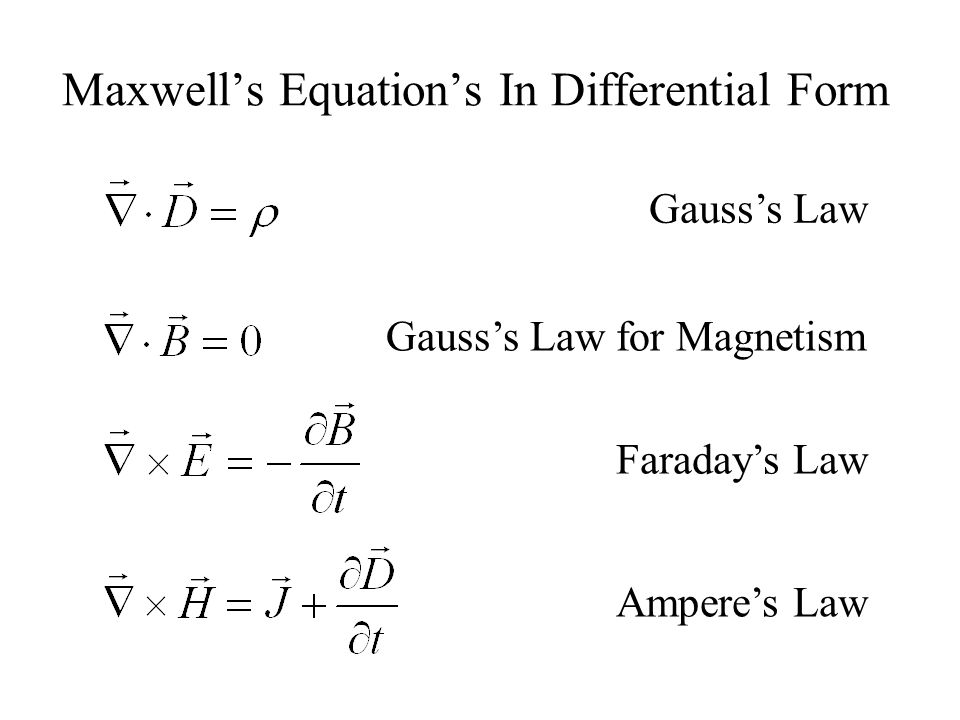 Maxwell's Equation's In Differential Form