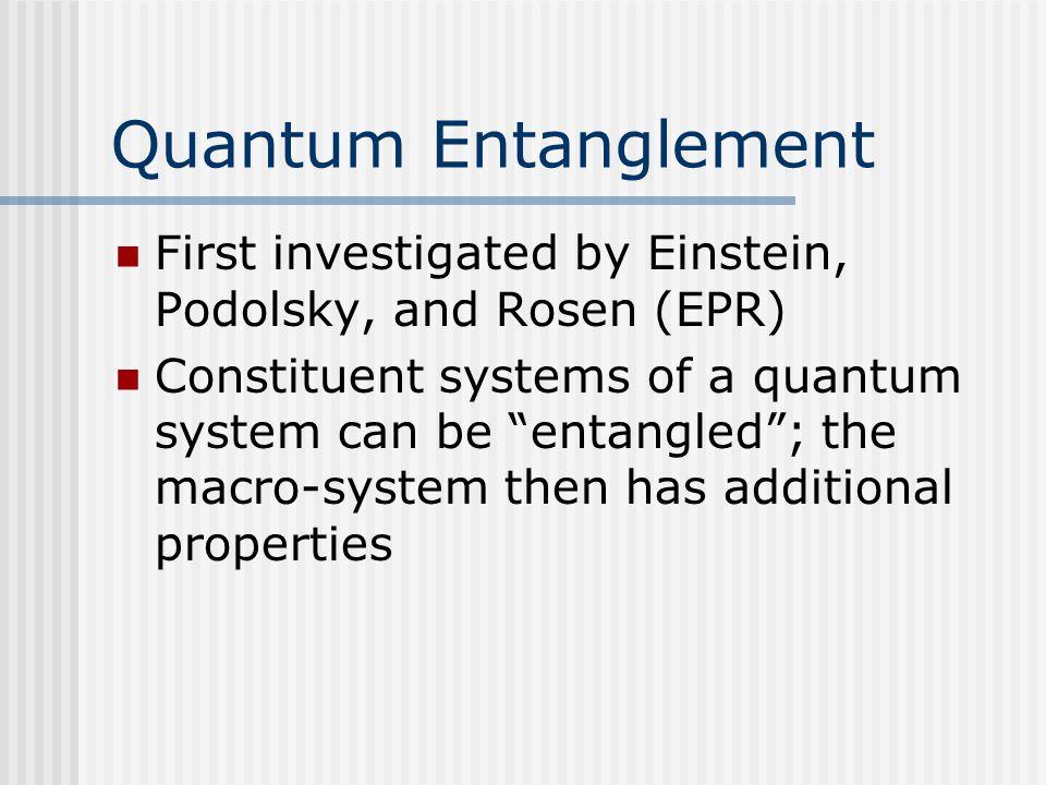 Quantum Entanglement First investigated by Einstein, Podolsky, and Rosen (EPR)