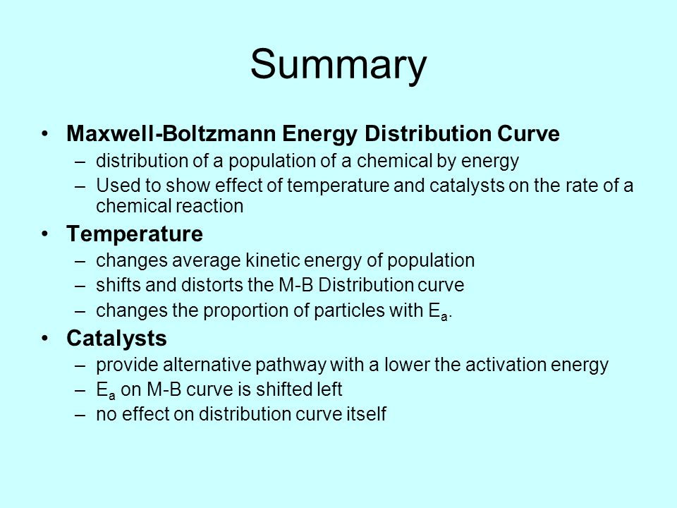 Summary Maxwell-Boltzmann Energy Distribution Curve Temperature