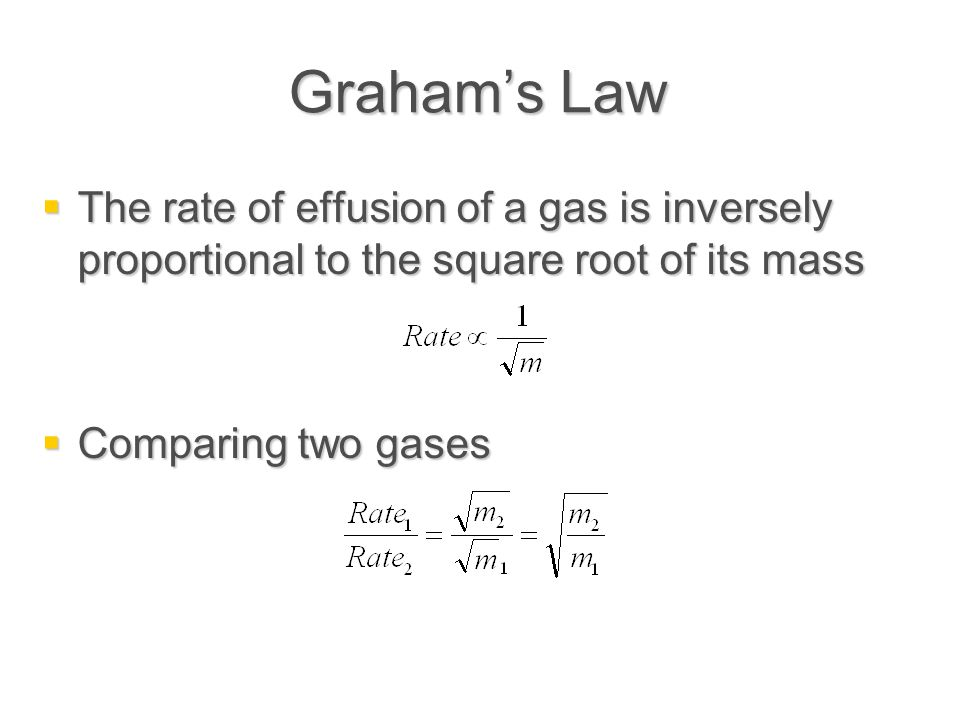 Graham's Law The rate of effusion of a gas is inversely proportional to the square root of its mass.