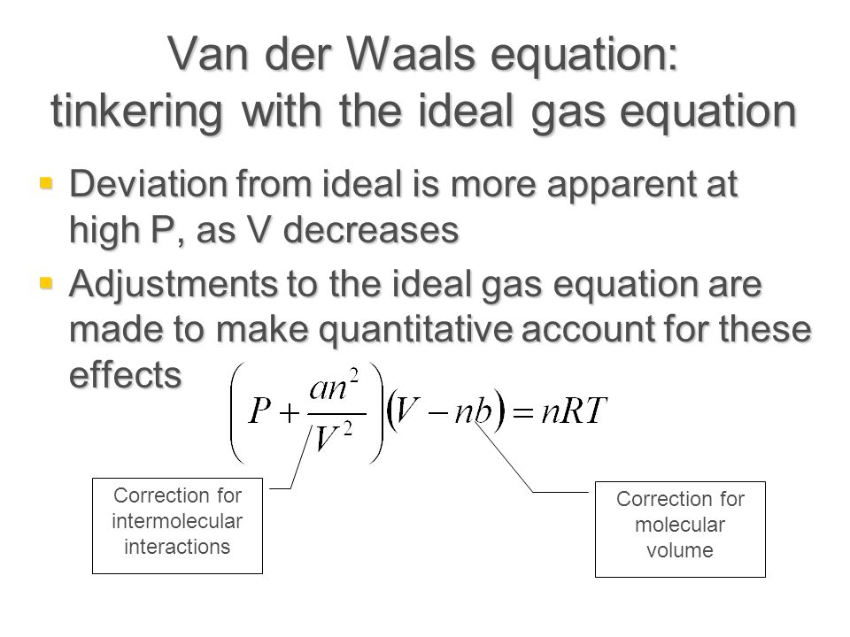 Van der Waals equation: tinkering with the ideal gas equation