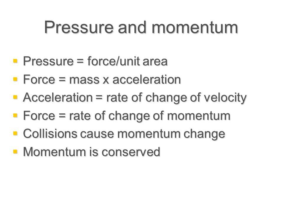 Pressure and momentum Pressure = force/unit area