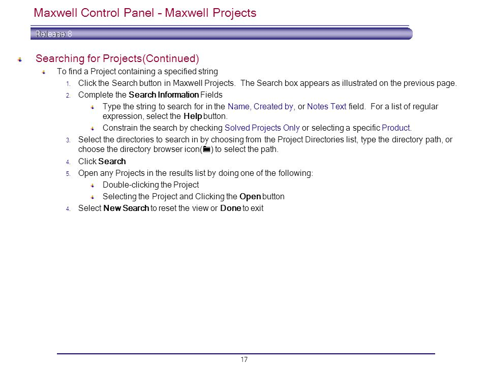 Maxwell Control Panel – Maxwell Projects