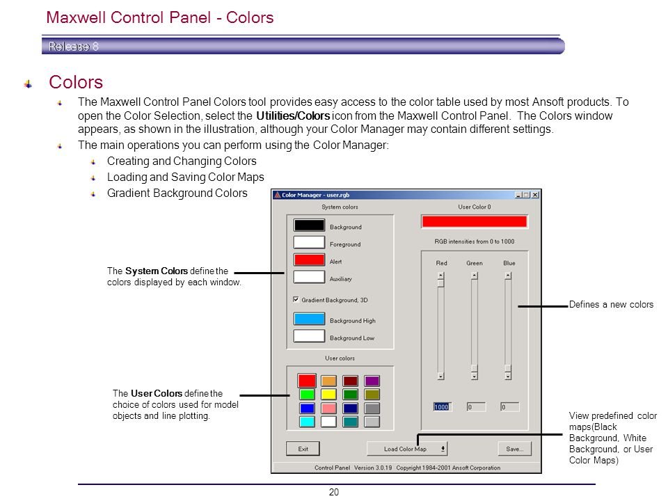 Maxwell Control Panel - Colors