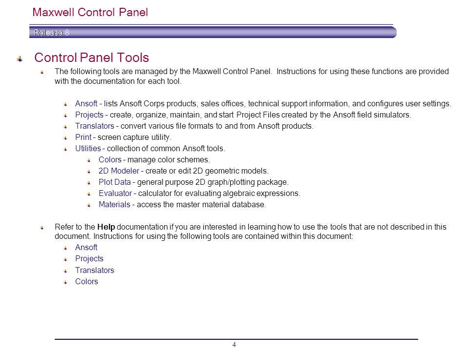 Control Panel Tools Maxwell Control Panel