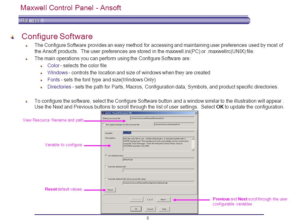 Maxwell Control Panel - Ansoft