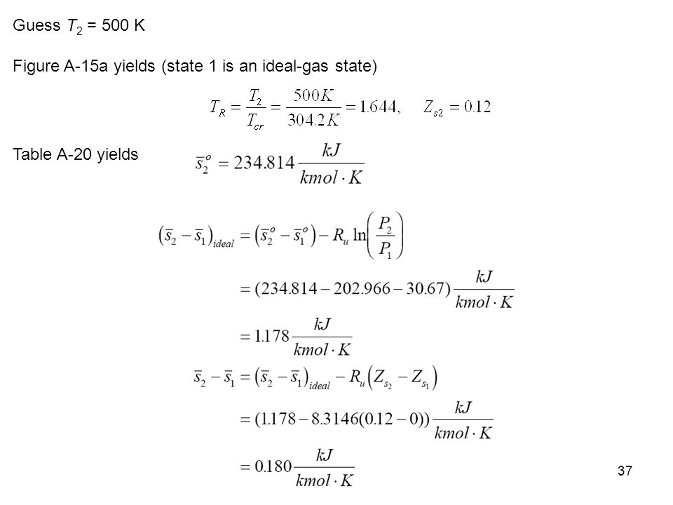Guess T2 = 500 K Figure A-15a yields (state 1 is an ideal-gas state) Table A-20 yields