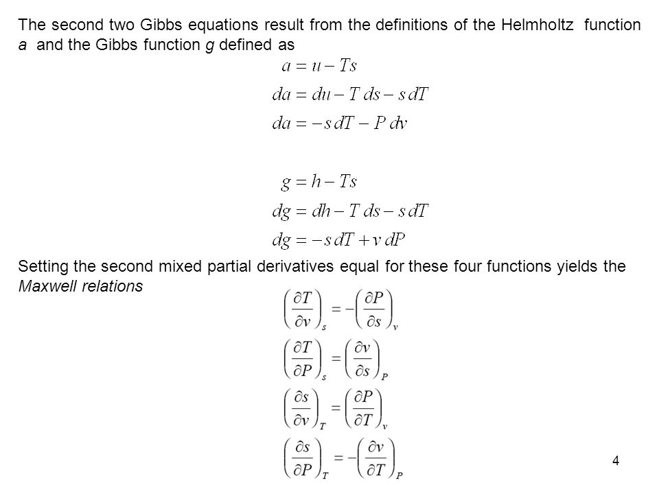 The second two Gibbs equations result from the definitions of the Helmholtz function a and the Gibbs function g defined as