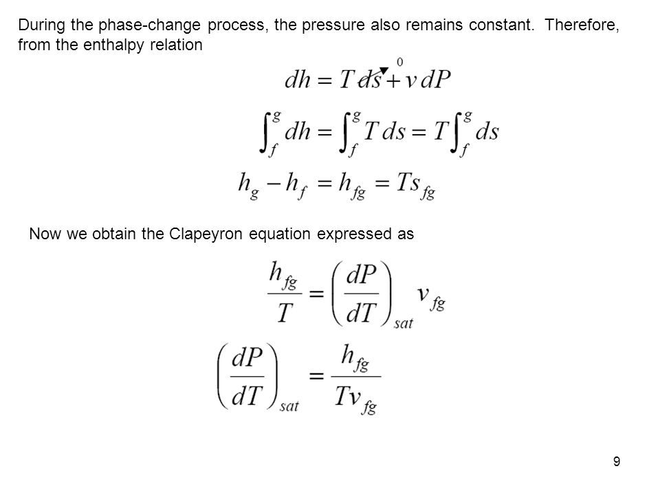 During the phase-change process, the pressure also remains constant