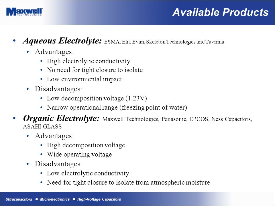 Available Products Aqueous Electrolyte: ESMA, Elit, Evan, Skeleton Technologies and Tavrima. Advantages: