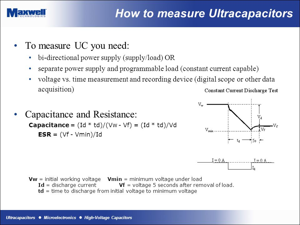 How to measure Ultracapacitors