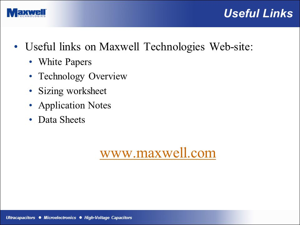 www.maxwell.com Useful Links
