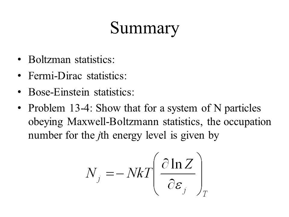 Summary Boltzman statistics: Fermi-Dirac statistics: