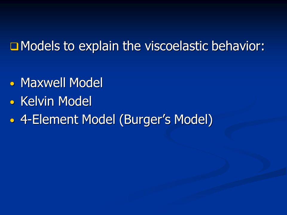 Models to explain the viscoelastic behavior: