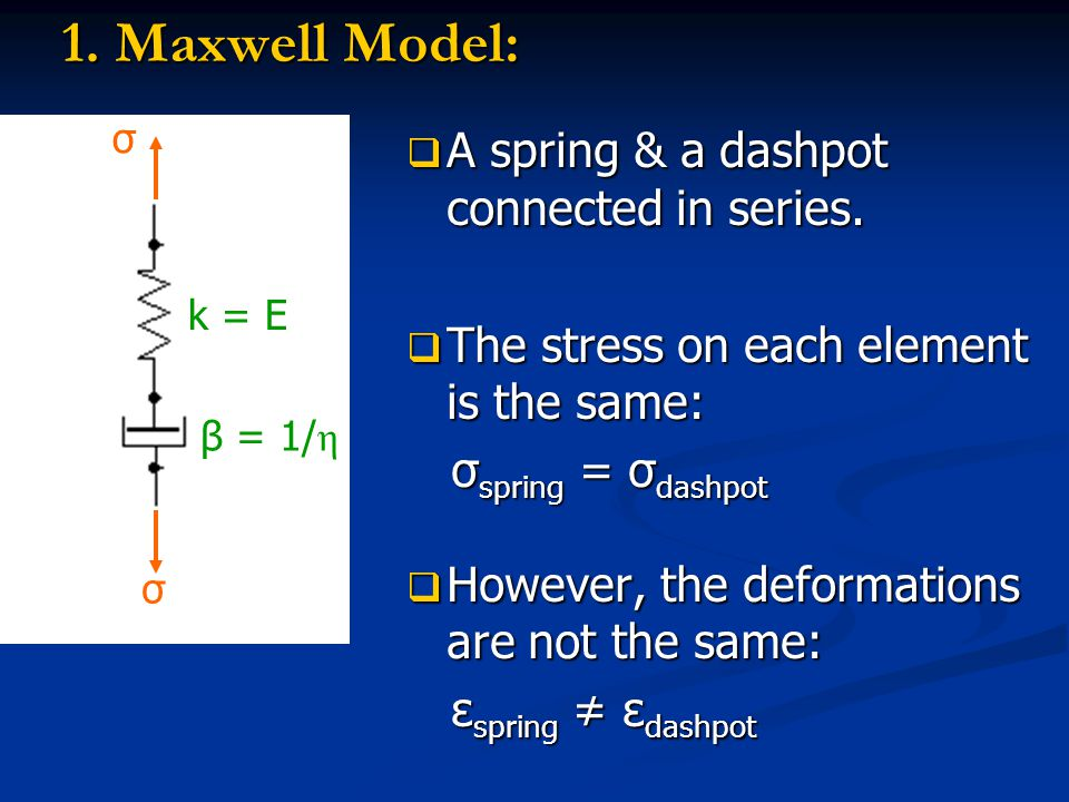 1. Maxwell Model: A spring & a dashpot connected in series.