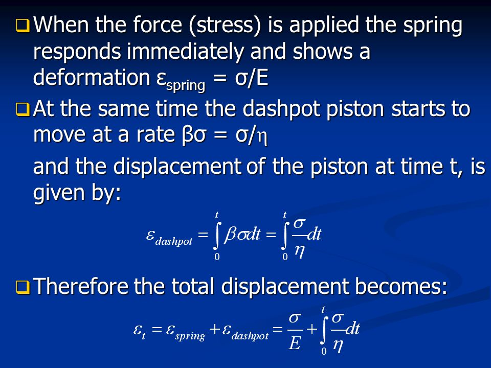 When the force (stress) is applied the spring responds immediately and shows a deformation εspring = σ/E