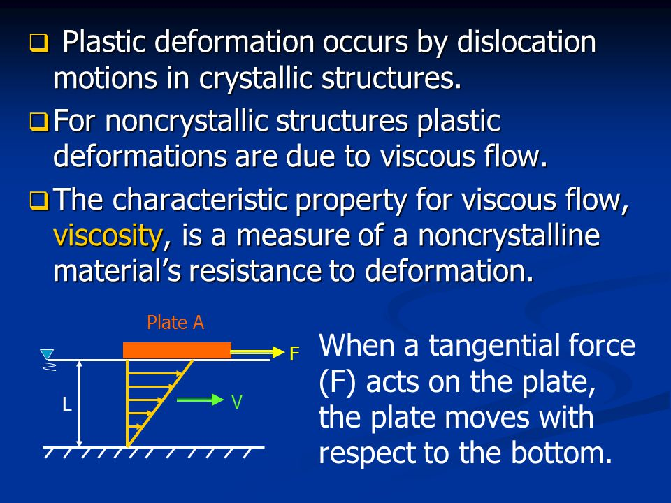 Plastic deformation occurs by dislocation motions in crystallic structures.
