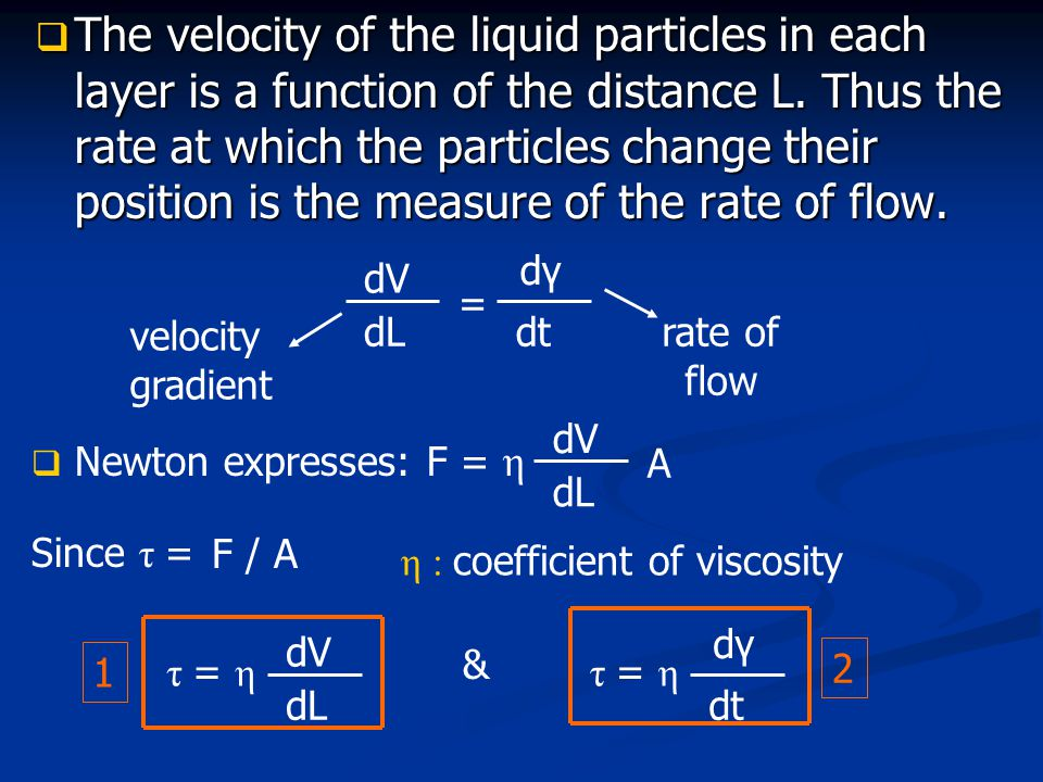 The velocity of the liquid particles in each layer is a function of the distance L. Thus the rate at which the particles change their position is the measure of the rate of flow.