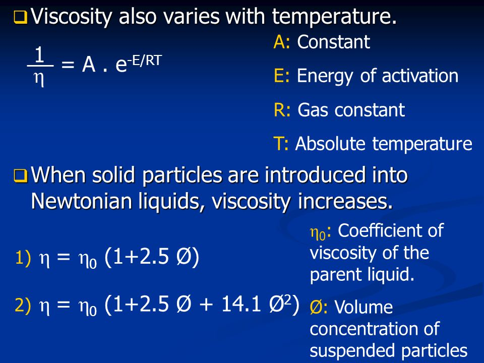 Viscosity also varies with temperature.