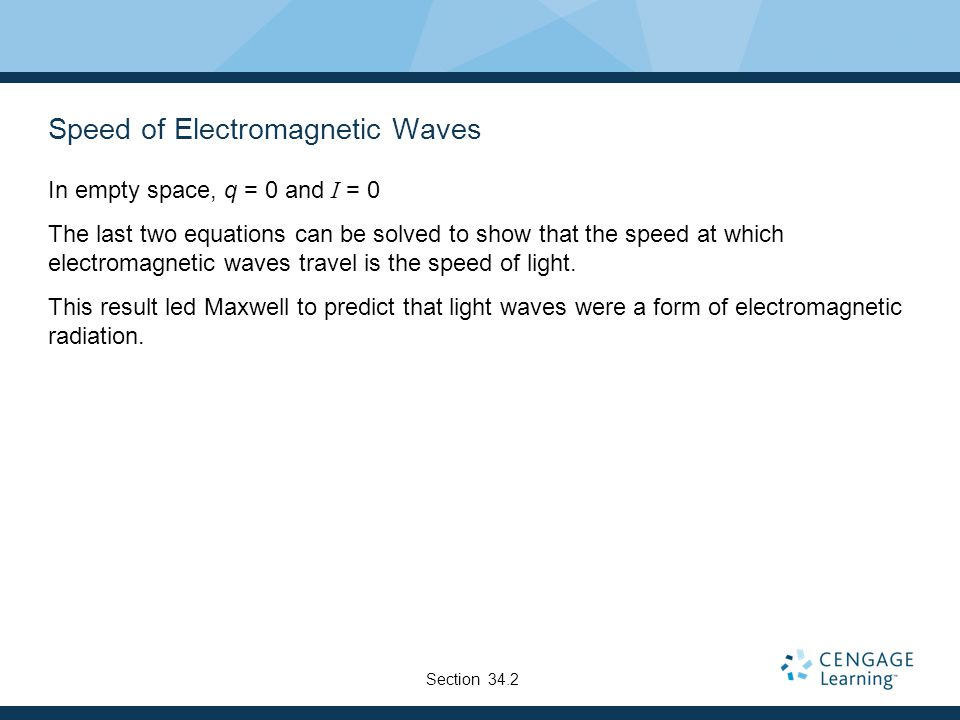 Speed of Electromagnetic Waves