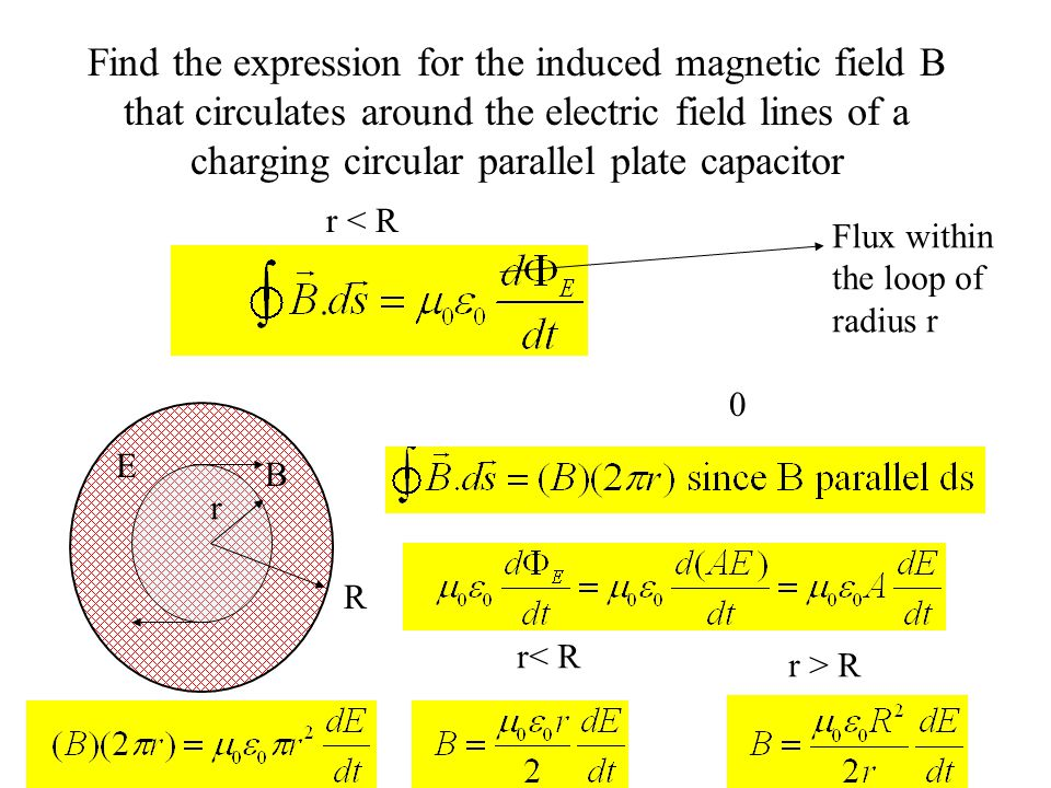 Find the expression for the induced magnetic field B that circulates around the electric field lines of a charging circular parallel plate capacitor