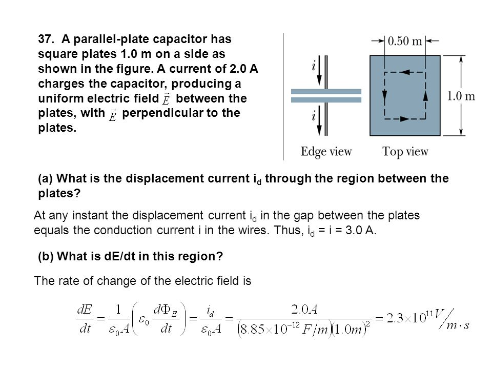 37. A parallel-plate capacitor has square plates 1