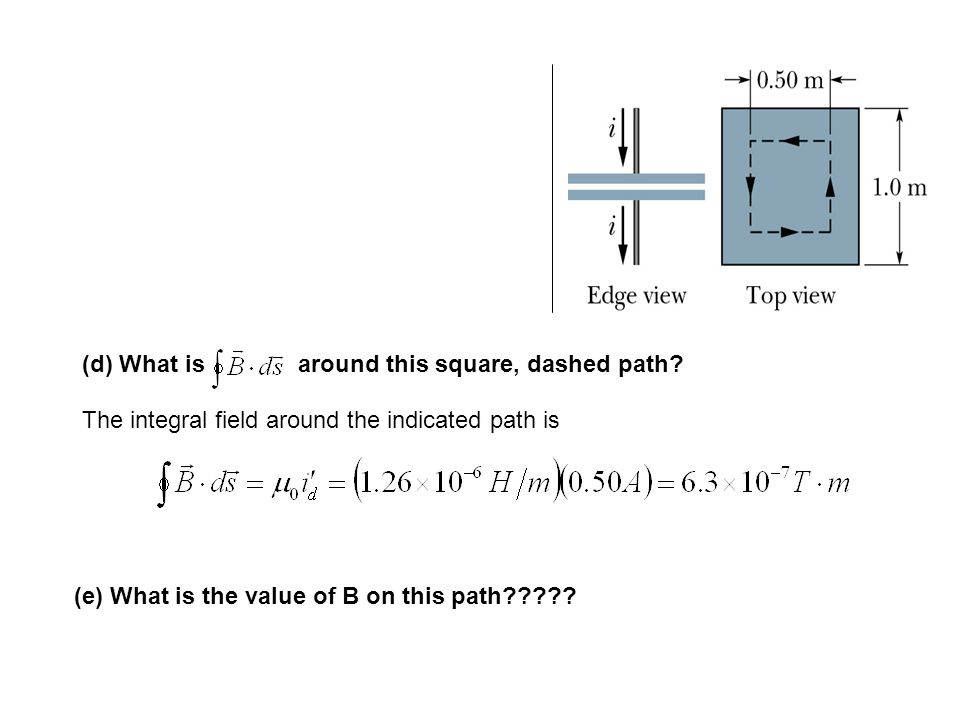(d) What is around this square, dashed path