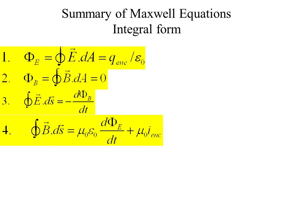 Summary of Maxwell Equations Integral form