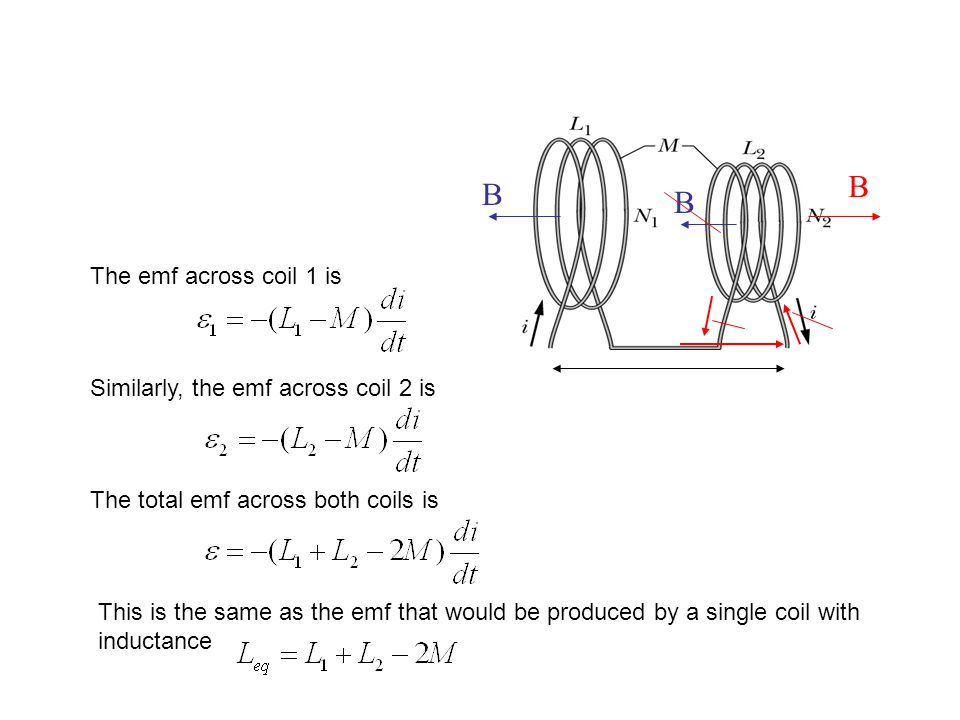 B The emf across coil 1 is Similarly, the emf across coil 2 is