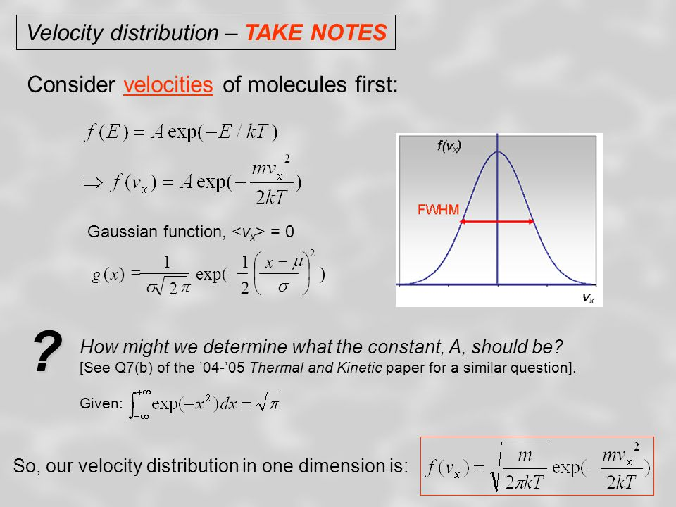 Velocity distribution – TAKE NOTES