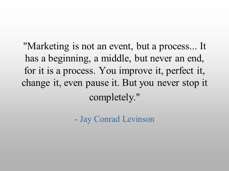 Marketing is not an event, but a process