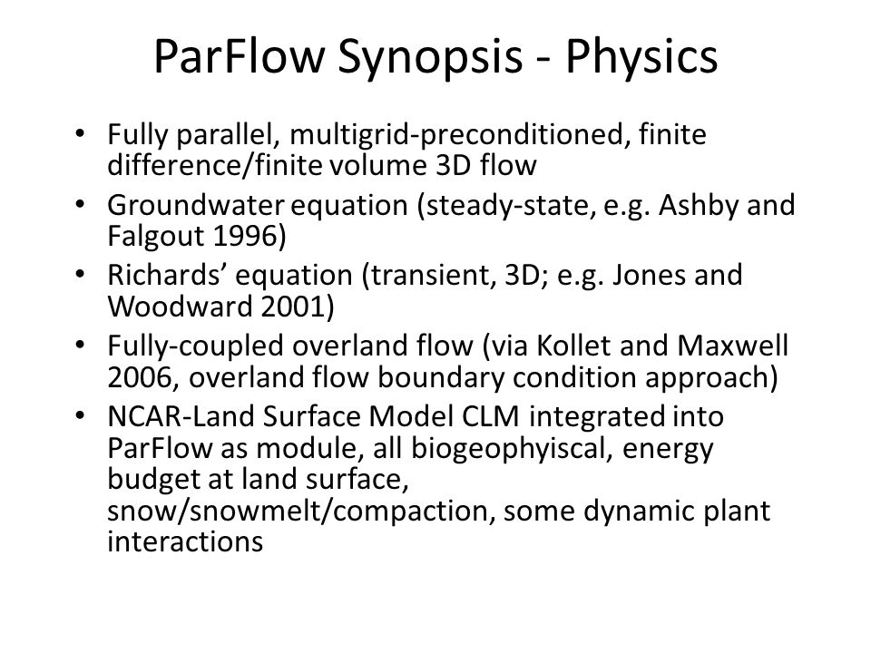 ParFlow Synopsis - Physics