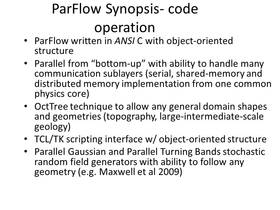 ParFlow Synopsis- code operation