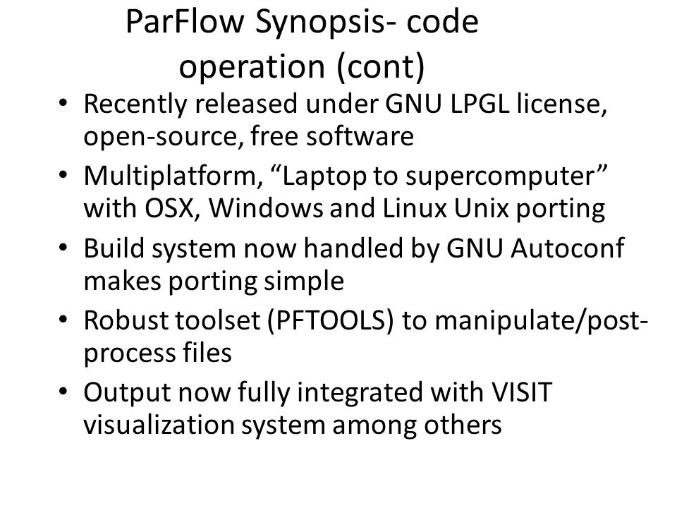 ParFlow Synopsis- code operation (cont)