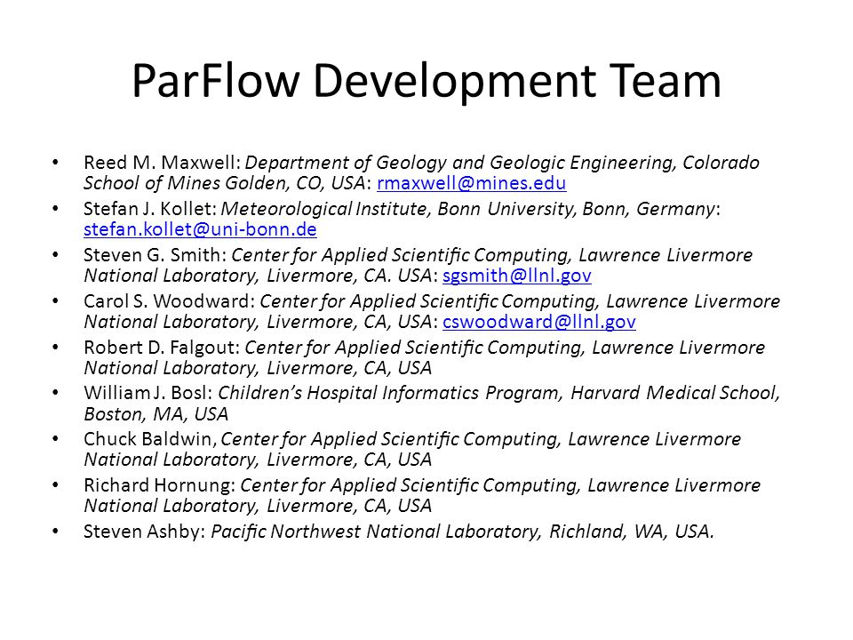ParFlow Development Team