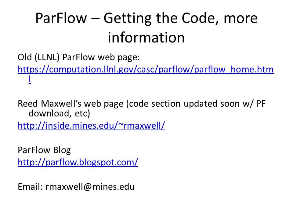 ParFlow – Getting the Code, more information
