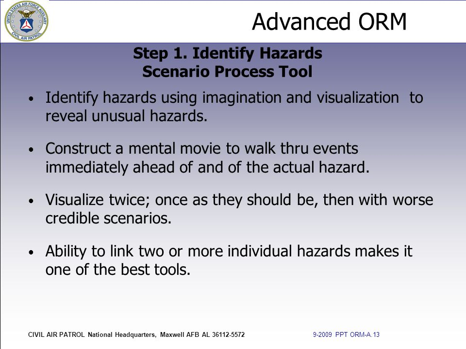 Step 1. Identify Hazards Scenario Process Tool
