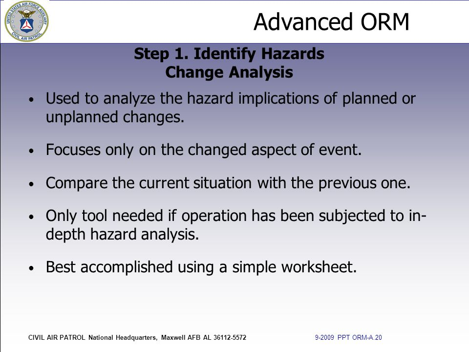 Step 1. Identify Hazards Change Analysis