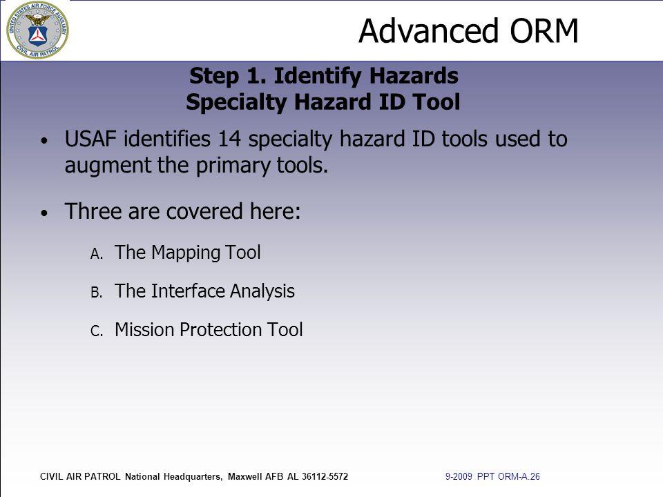 Step 1. Identify Hazards Specialty Hazard ID Tool