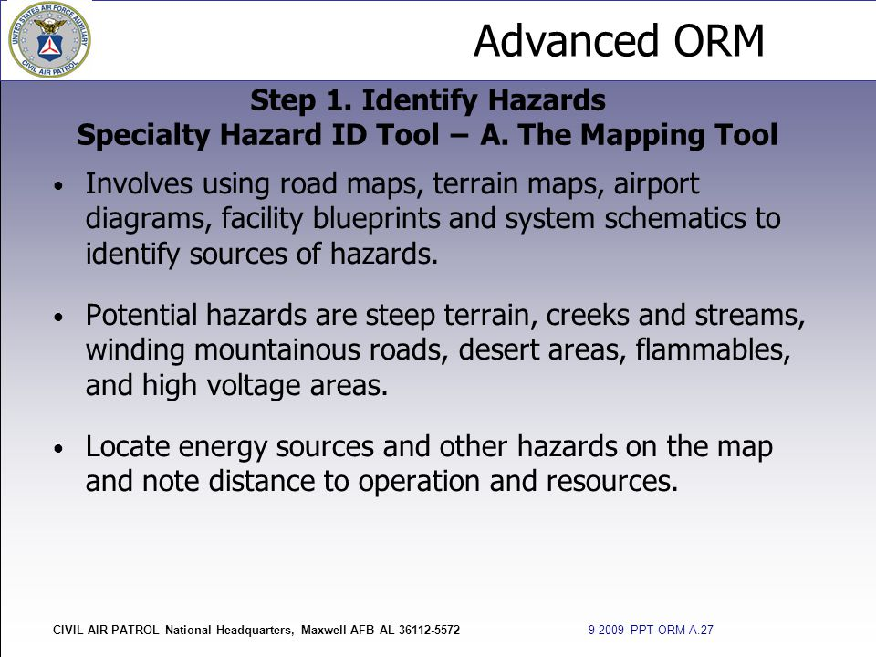 Step 1. Identify Hazards Specialty Hazard ID Tool − A. The Mapping Tool