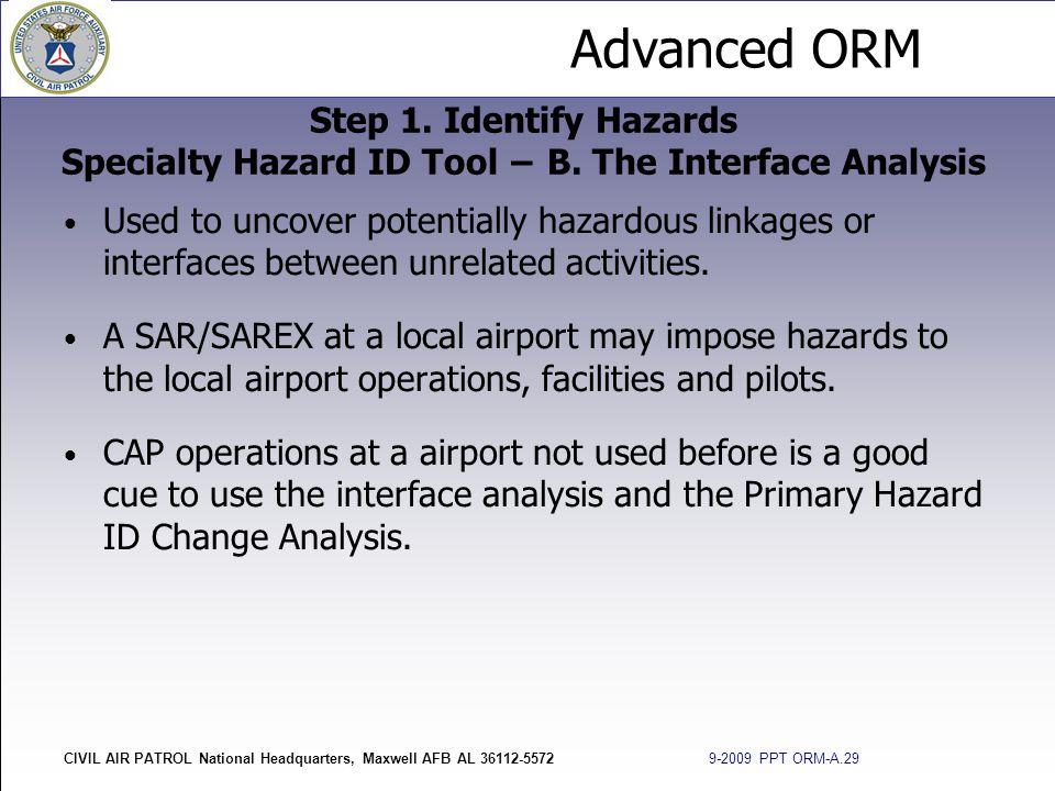 Step 1. Identify Hazards Specialty Hazard ID Tool − B
