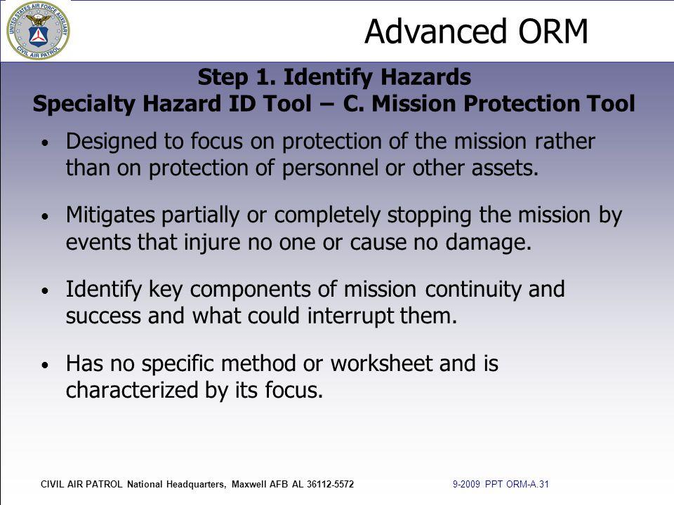 Step 1. Identify Hazards Specialty Hazard ID Tool − C