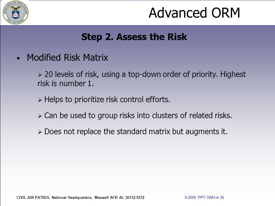 Step 2. Assess the Risk Modified Risk Matrix
