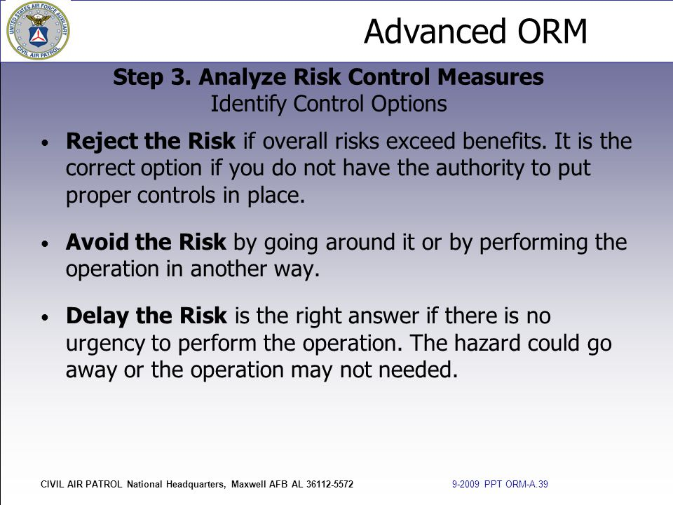 Step 3. Analyze Risk Control Measures Identify Control Options