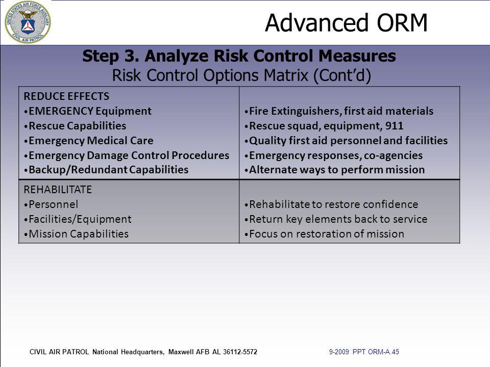 Step 3. Analyze Risk Control Measures Risk Control Options Matrix (Cont'd)