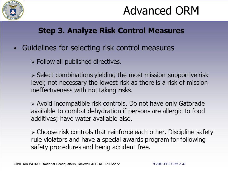 Step 3. Analyze Risk Control Measures